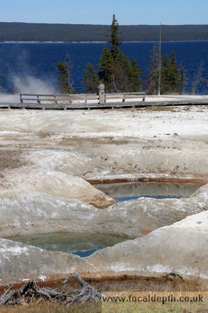 Yellowstone - Thermal Pools at West Thumb Geyser Basin, looking over to Yellowstone Lake