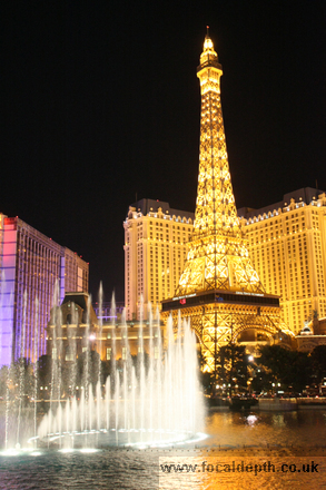 USA - View looking across the Fountains at the Bellagio, to the replica Eiffel Tower at Paris Las Vegas