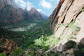 USA - View from the start of Refrigerator Canyon, looking back along the West Trail and Zion Canyon